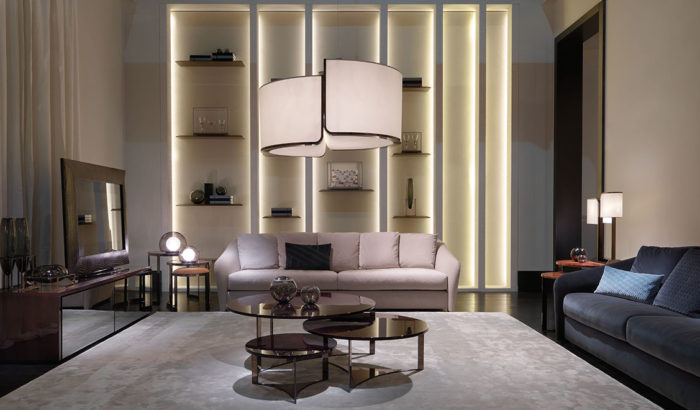 FF Tiffany sofas, Tolomeo coffee tables and Royal Decò Mirror low cabinet